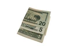 发单被折叠的美元 库存照片