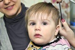发型一个岁孩子 免版税库存照片