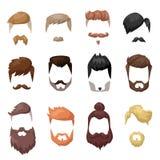 发型刮胡须,并且头发面孔削减了面具平的动画片收藏 免版税库存图片