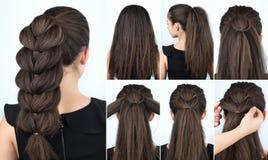 发型欢乐辫子讲解 免版税库存图片