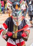 发埃Ta Khon节日的五颜六色的鬼魂面具执行者, Loei,泰国 库存图片