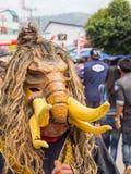发埃Ta Khon节日的五颜六色的鬼魂面具执行者, Loei,泰国 免版税库存图片