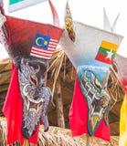 发埃Ta Kon节日的五颜六色的鬼魂面具执行者, Loei,泰国 库存图片