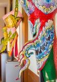 发埃Ta Kon节日的五颜六色的鬼魂面具执行者, Loei,泰国 免版税库存图片