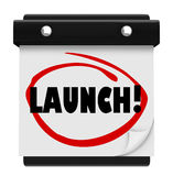 发射白天约会日历盘旋的新产品企业开始 免版税库存图片