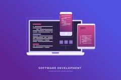 发展和软件的概念 数字式产业 向量例证