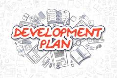 发展计划-乱画红色题字 到达天空的企业概念金黄回归键所有权 库存例证