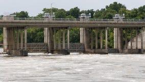 发布动荡水的长角牛水坝 免版税图库摄影