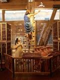 发布在平底船的诺亚鸠在平底船遭遇主题乐园 免版税库存照片