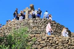 发怒小山在公园Guell,巴塞罗那 库存照片
