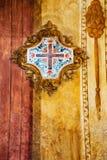 发怒形状在教会,罗马,意大利里 水泥grunge纹理墙壁 免版税库存照片