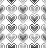 发怒针,与心脏的无缝的装饰样式 刺绣和编织 几何抽象的背景 库存例证