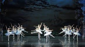 发怒飞行散置芭蕾天鹅湖 库存图片