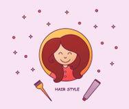 头发染色 有容量发型的一个女孩 美容院,美发师 Ombre,设色,洗染的头发 向量 图库摄影