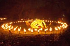 发火焰在Kew庭院的五只金戒指 免版税库存图片