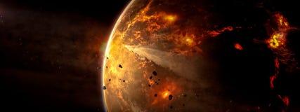 发火焰有星系背景的幻想外籍人星 库存图片