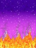 发火焰满天星斗的晚上 图库摄影