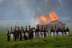 发烟和火在战场 免版税图库摄影
