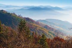 发烟性山脉的小山特写镜头  免版税库存图片