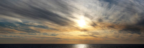 发烟性日落Bunbury西方澳洲全景  免版税图库摄影