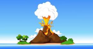 发烟性火山、山和绿草在蓝色多云天空 库存例证