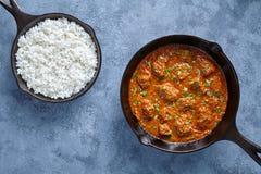 发牢骚在生铁平底锅的马都拉斯咖喱慢厨师印地安辣调味汁garam masala羊羔食物 库存图片