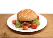 发牢骚汉堡用沙拉和小蕃茄在板材 图库摄影
