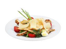 发牢骚沙拉、菜、乳酪和多士 图库摄影