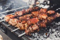 发牢骚kebab 在格栅, bbq的新鲜的肉 免版税库存图片