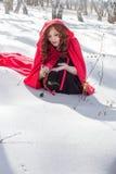 发现一朵红色玫瑰女孩的画象 免版税库存图片