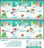 发现区别图片难题-嬉戏的雪人 免版税库存图片