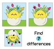 发现区别教育儿童比赛 哄骗与鸡的活动板料在鸡蛋 盘旋您色的复活节彩蛋eps10空间文本主题的向量 库存例证