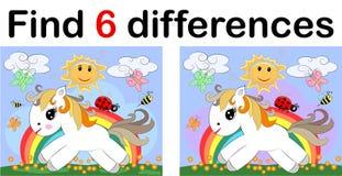 发现区别,孩子的教育比赛 神仙的小马和彩虹 向量例证