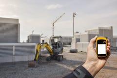 发现在一个建造场所里面的正确的位置通过gps 免版税库存图片