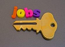 发现工作关键徽标可能 库存图片