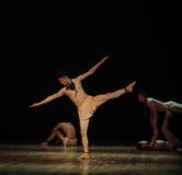 发现平衡现代舞蹈舞蹈动作设计者亨利Yu 免版税库存照片