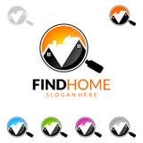 发现得在家,房地产传染媒介与独特的家的商标设计 免版税库存照片
