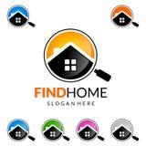 发现得在家,房地产传染媒介与独特的家的商标设计 图库摄影