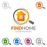 发现得在家,房地产传染媒介与独特的家的商标设计 库存照片