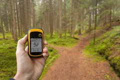 发现正确的位置在森林通过gps弄脏了backg 免版税库存照片