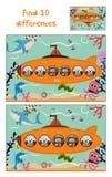 发现10个区别的教育动画片对于儿童图片潜水艇漂浮与在海鱼中的森林动物和 库存照片