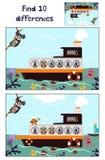 发现10个区别的教育动画片对于小船的儿童图片有狂放的密林的动物的在海w中的 免版税库存照片