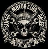 发球区域头骨摩托车图形设计 免版税库存照片