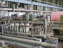 发电器和蒸汽机在修理期间 免版税库存图片