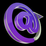 发电子邮件在标志的展示在办公室沟通 图库摄影
