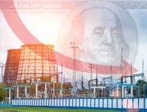 发电站和美元在天空,红色箭头,更低的电价格,能源厂 免版税图库摄影