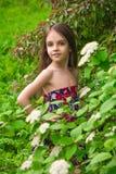 头发的女孩在春天公园 库存照片