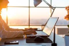 发短信使用膝上型计算机和互联网的女性远程工作人员,在网上运作 键入在家办公室,工作场所的自由职业者 库存图片