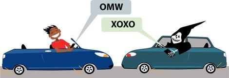发短信和驾驶的危险 库存照片