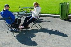 发短信在布耐恩特公园的夫妇 图库摄影